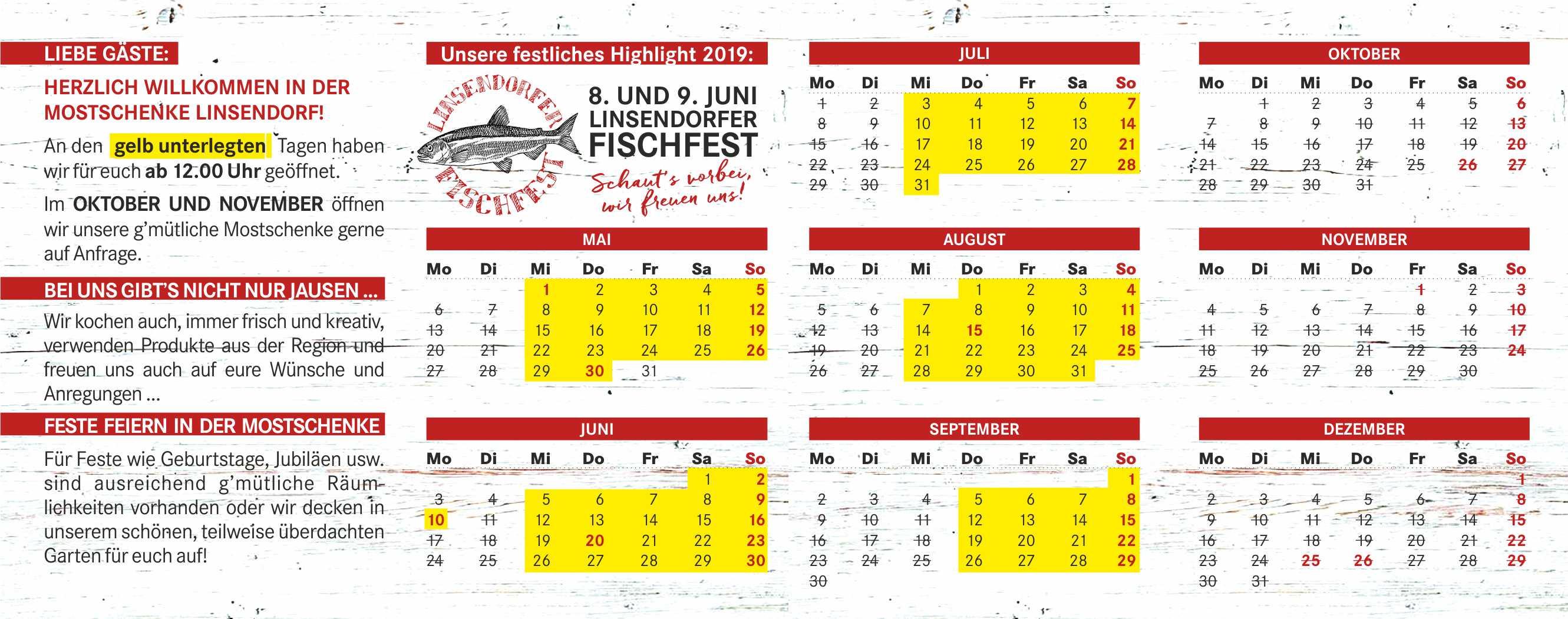 Mostschenke Kalender Fischfest